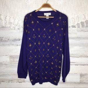 Vintage beaded jeweled embellished purple sweater